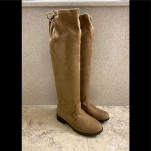 tan faux suede over the knee boots (size 3)